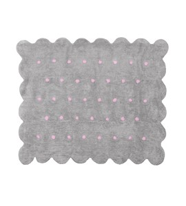 Alfombra cookie gris/rosa