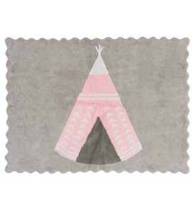 Alfombra teepee gris/rosa